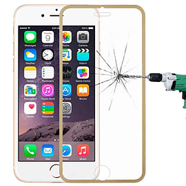 Premium Full Screen Tempered Glass Screen Protector Scratch Resistant for Apple iPhone 6 6S - Gold Mobile phones