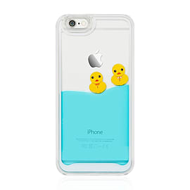 Swimming Floating Rubber Ducks Blue Liquid Hard Case Cover For Apple iPhone 6 6S - Light Blue Mobile phones