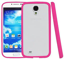Translucent Frosted Plastic Protective Case Cover with TPU Frame for Samsung Galaxy S4 - Magenta Mobile phones