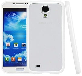 Translucent Frosted Plastic Protective Case Cover with TPU Frame for Samsung Galaxy S4 i9500 - White Mobile phones