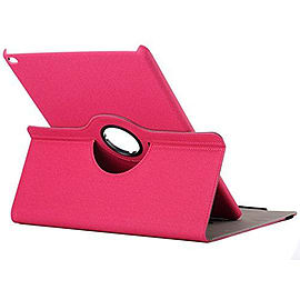 Cloth Texture 360 Degree Rotating Case With Credit Card Slots For iPad Mini 4 - Hot Pink Tablet