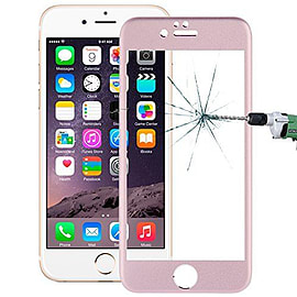 Full Screen Curved Titanium Alloy Tempered Glass Screen Protector for Apple iPhone 6 6S Plus - Pink Mobile phones