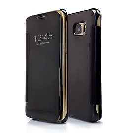 Frostycow Mirror Smart View Magnetic Flip Case Cover For Samsung Galaxy S7 Edge Black Mobile phones