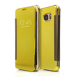 Frostycow Mirror Smart View Magnetic Flip Case Cover For Samsung Galaxy S6 Edge Gold Mobile phones