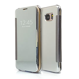 Frostycow Mirror Smart View Magnetic Flip Case Cover For Samsung Galaxy S7 Edge Silver Mobile phones