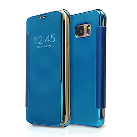 Frostycow Mirror Smart View Magnetic Flip Case Cover For Samsung Galaxy S7 Edge Light Blue Mobile phones