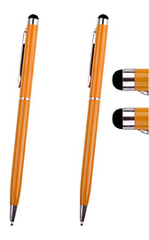 Hellfire Trading 2x Orange Stylus with Ball Point Pen for Tablets iPad Smartphone Mobile phones