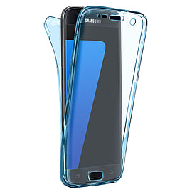 N4U - Shockproof 360? TPU Gel Protective Blue Transparent Case Cover For Samsung Galaxy J3 2016 Mobile phones