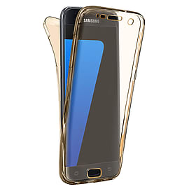 N4U - Shockproof 360? TPU Gel Protective Gold Transparent Case Cover For Samsung Galaxy J7 Mobile phones