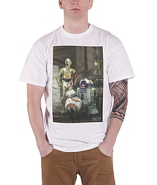 Star wars T Shirt 7 force awakens Three Droids BB 8 new Official Mens WhiteSize: M Clothing