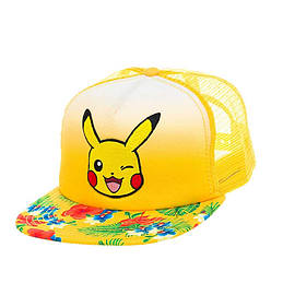 Pokemon baseball cap Pikachu face new Official yellow Trucker Snapback CapSize: One Size Clothing