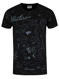 Game of Thrones Westeros Map Black Men's GoT T-shirt: Small (Mens 36 - 38) Clothing