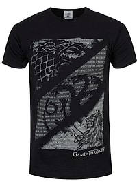 Game of Thrones Wolves, Dragons & Lions Black Men's GoT T-shirt: Small (Mens 36 - 38) Clothing