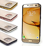 Frostycow Soft Gel Clear Back Metallic Bumper Shockproof Case Cover Samsung Galaxy S7 Edge Gold screen shot 1