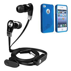 iSOUL Earphone With Microphone Case For iPhone 4 4S - Blue Mobile phones