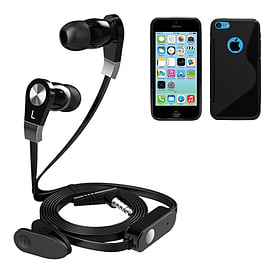 iSOUL Earphone With Microphone Case For iPhone 5C - Black Mobile phones