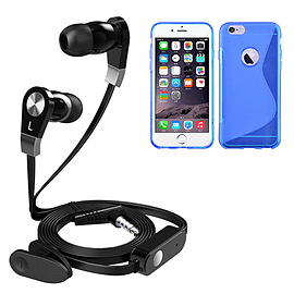 iSOUL Earphone With Microphone Case For iPhone 6 Plus - Blue Mobile phones