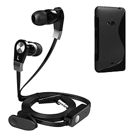 iSOUL Earphone With Microphone Case For Nokia Lumia 625 - Black Mobile phones