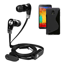 iSOUL Earphone With Microphone Case For Samsung Galaxy Note 4 - Black Mobile phones