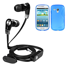 iSOUL Earphone With Microphone Case For Samsung I8190 Galaxy S3 Mini - Blue Mobile phones
