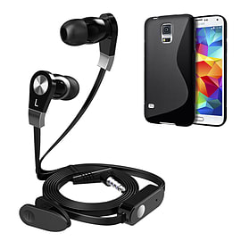 iSOUL Earphone With Microphone Case For Samsung Galaxy S5 - Black Mobile phones