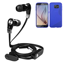 iSOUL Earphone With Microphone Case For Samsung Galaxy S6 - Blue Mobile phones