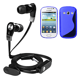 iSOUL Earphone With Microphone Case For Samsung Galaxy Fame S6810 - Fame-Blue Mobile phones