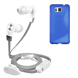 iSOUL Silver In-Ear Stereo Earphone Flat Cable Headphone Samsung Galaxy Alpha G-850 - Blue Mobile phones