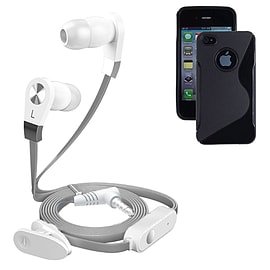 iSOUL Silver In-Ear Stereo Earphone Flat Cable Headphone For iPhone 4 4S - Black Mobile phones