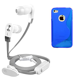 iSOUL Silver In-Ear Stereo Earphone Flat Cable Headphone For iPhone 4 4S - Blue Mobile phones