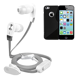 iSOUL Silver In-Ear Stereo Earphone Flat Cable Headphone For iPhone 5C - Black Mobile phones
