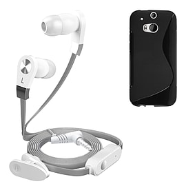 iSOUL Silver In-Ear Stereo Earphone Flat Cable Headphone (HTC One M8) - Black Mobile phones