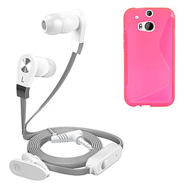 iSOUL Silver In-Ear Stereo Earphone Flat Cable Headphone (HTC One M8) - Pink Mobile phones