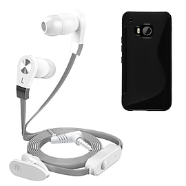 iSOUL Silver In-Ear Stereo Earphone Flat Cable Headphone (HTC One M9) - Black Mobile phones