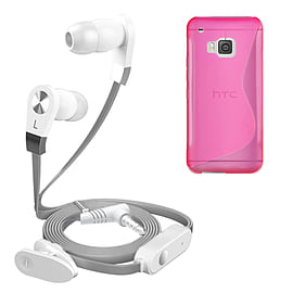 iSOUL Silver In-Ear Stereo Earphone Flat Cable Headphone (HTC One M9) - Pink Mobile phones