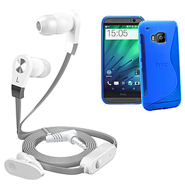 iSOUL Silver In-Ear Stereo Earphone Flat Cable Headphone (HTC One M9) - Blue Mobile phones