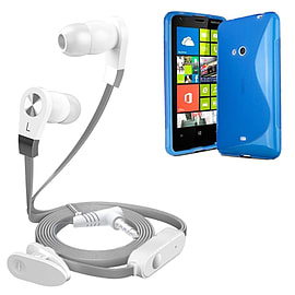 iSOUL Silver In-Ear Stereo Earphone Flat Cable Headphone Nokia Lumia 625 - Blue Mobile phones