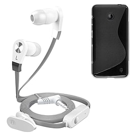 iSOUL Silver In-Ear Stereo Earphone Flat Cable Headphone Nokia Lumia 630 - Black Mobile phones