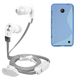 iSOUL Silver In-Ear Stereo Earphone Flat Cable Headphone Nokia Lumia 630 - Blue Mobile phones