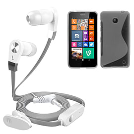 iSOUL Silver In-Ear Stereo Earphone Flat Cable Headphone Nokia Lumia 630 - Clear Mobile phones