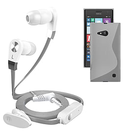 iSOUL Silver In-Ear Stereo Earphone Flat Cable Headphone Nokia Lumia 730 - Clear Mobile phones