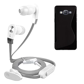 iSOUL Silver In-Ear Stereo Earphone Flat Cable Headphone Samsung Galaxy A3 - Black Mobile phones