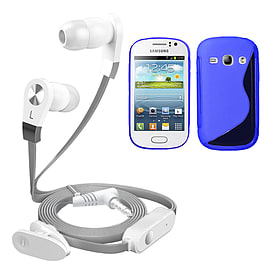 iSOUL Silver In-Ear Stereo Earphone Flat Cable Headphone Samsung Galaxy Fame S6810 - Blue Mobile phones