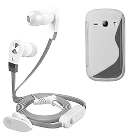 iSOUL Silver In-Ear Stereo Earphone Flat Cable Headphone Samsung Galaxy Fame S6810 - Clear Mobile phones