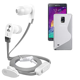 iSOUL Silver In-Ear Stereo Earphone Flat Cable Headphone Samsung Galaxy Note 4 N9100 - Clear Mobile phones