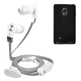 iSOUL Silver In-Ear Stereo Earphone Flat Cable Headphone Samsung Galaxy Note Edge N9150 - Black Mobile phones