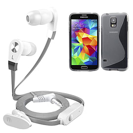 iSOUL Silver In-Ear Stereo Earphone Flat Cable Headphone Samsung Galaxy S5 Mini - Clear Mobile phones