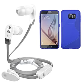iSOUL Silver In-Ear Stereo Earphone Flat Cable Headphone Samsung Galaxy S6 - Blue Mobile phones