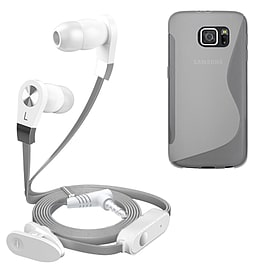 iSOUL Silver In-Ear Stereo Earphone Flat Cable Headphone Samsung Galaxy S6 - Clear Mobile phones