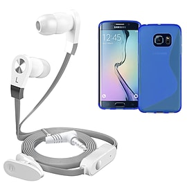 iSOUL Silver In-Ear Stereo Earphone Flat Cable Headphone Samsung Galaxy S6 EDGE - Blue Mobile phones